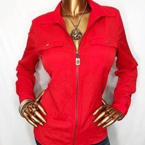 Michael Kors zip up blouse Sz S
